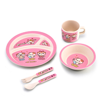 cartoon new bamboo fiber material kids animal shaped dinnerware set, kids plate pratos
