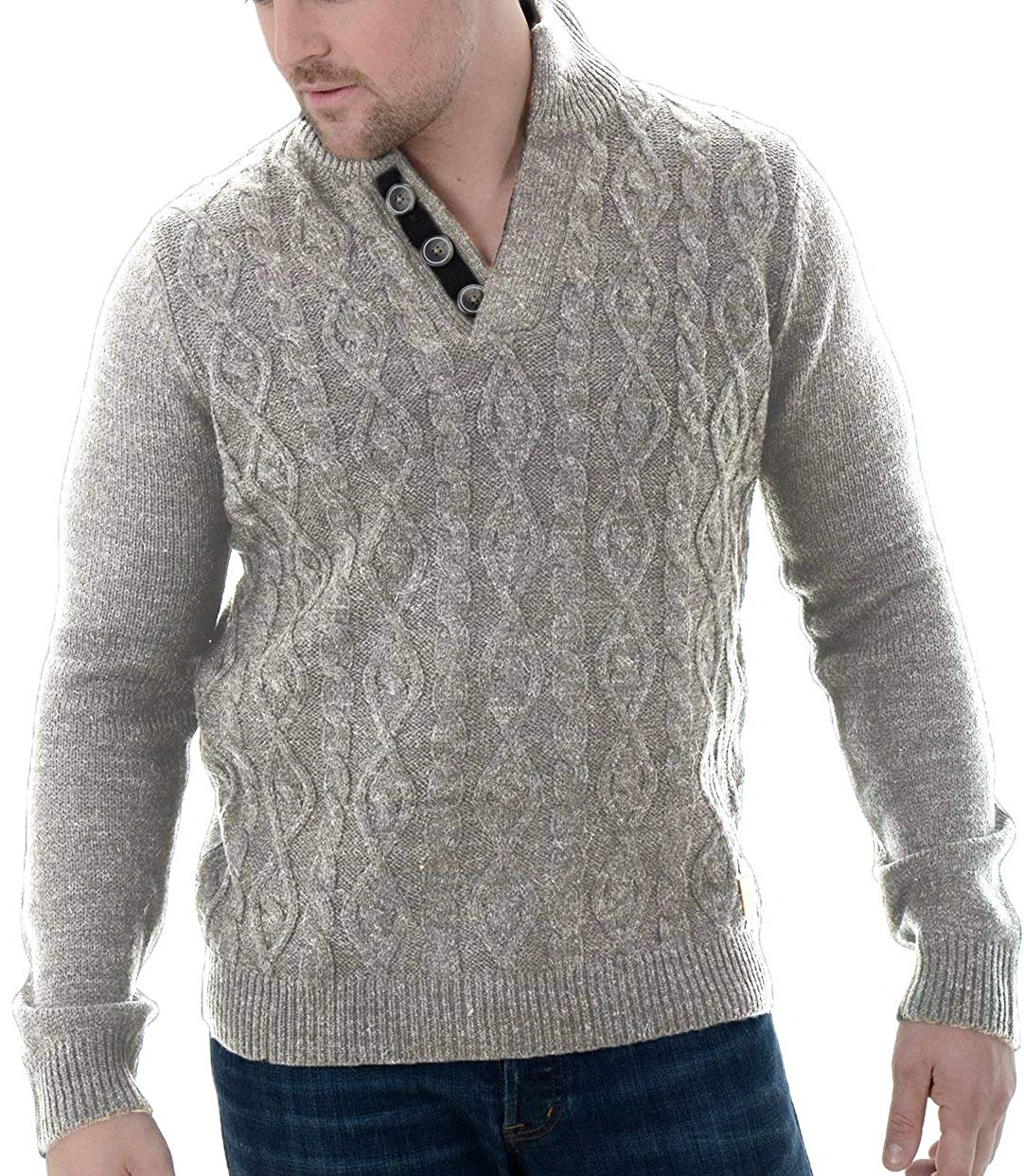 BU2H Men Casual V-Neck Cable Knit Long Sleeve Slim Fit Solid Pullover Sweater