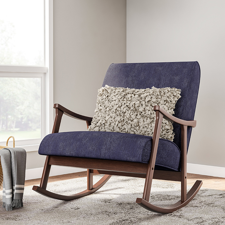 Custom 16 year manufacturer retro Indigo wooden rocking <strong>chair</strong>