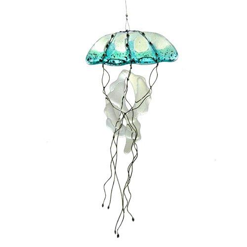 Modern Artisans Jellyfish Fused Glass Sun Catcher, Handmade in USA