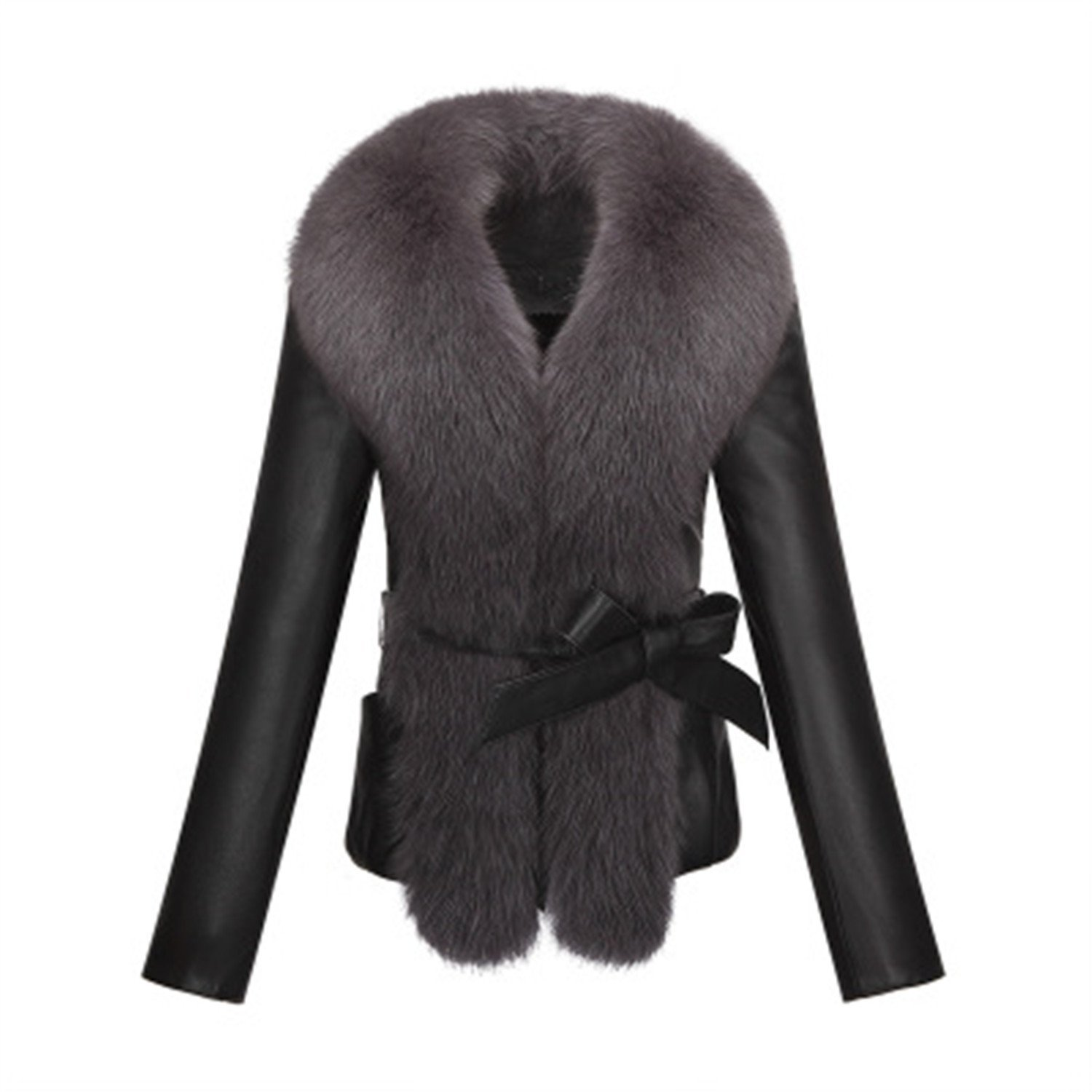 665e6d6f0cac Get Quotations · Kongsta Sheep Pu Leather Fox Fur Collar Slim Long-Sleeved Short  Jacket Jacket Fur Collar