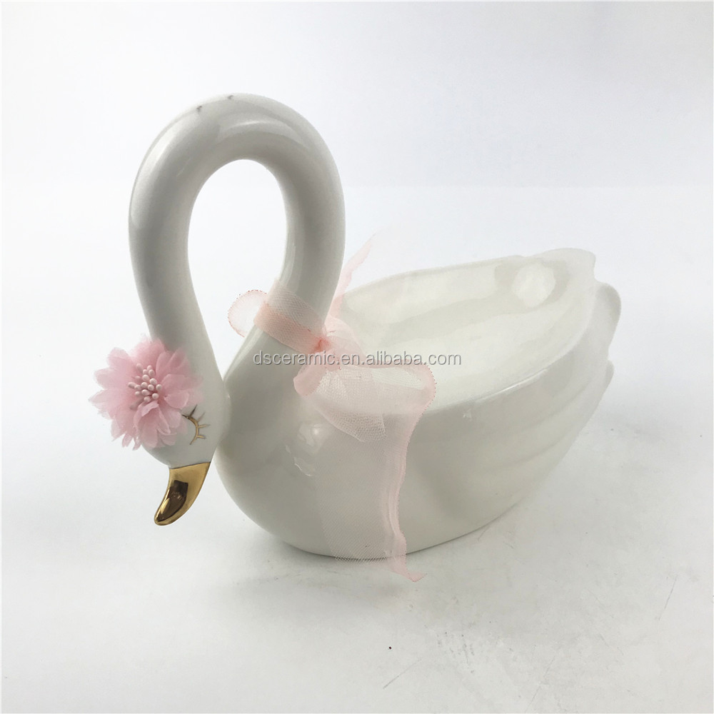 swan shaped pink white ceramic fruit plate tray