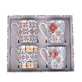 Sets of 4 pcs lead free pottery ceramic decorative coffee mug for men