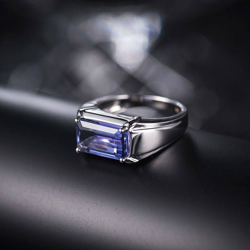 cut engagement gems precious tanzanite gold ring emerald diamond baguette di