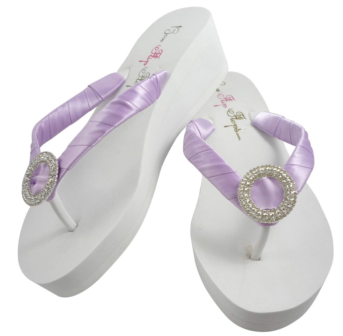 ab0f99052ff735 Get Quotations · Wedge Wedding Flip Flops with Luxe Rhinestone for Bride   Bridesmaid  Sandals- Ivory White