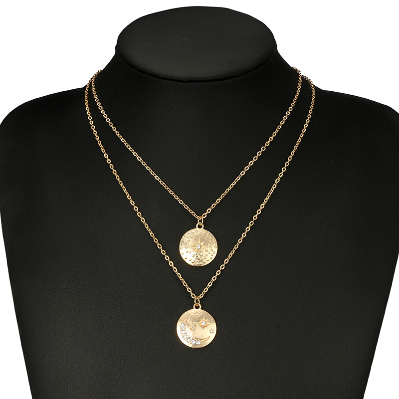 Nieuwste Layer Goedkope Fashion gold Double Layer Kristal Maan zon vorm Ketting