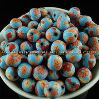 DIY handmade polymer clay round beads!! 14mm Flower painted clay ceramic beads!! !!