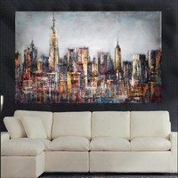 Professional Artist Hand-painted High Quality Modern Abstract Landscape Oil Painting on Canvas Abstract New York Oil Painting