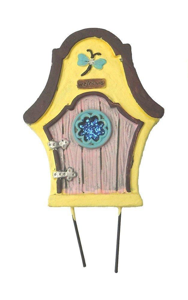 "Miniature elf gnome mini small Fairy Garden Enchanted Gnome tree home Door 6"" H (YELLOW DRAGONFLY DOOR)"