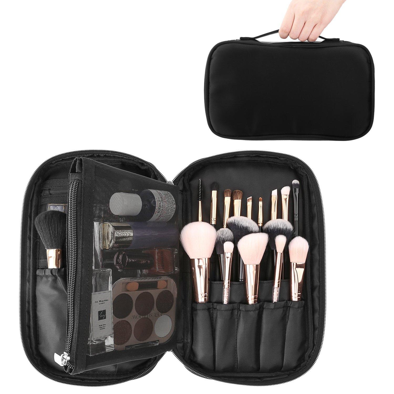 Luxspire Cosmetic Case Makeup Brush Organizer, Professional Cosmetic Bag Storage Case Box Make up Handbag Train Case Travel Storage Bag Toiletry Organizer Tool with Belt Strap, Black