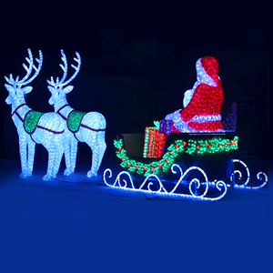 Outdoor christmas decoration life size led lighted acrylic crystal metal santa sleigh