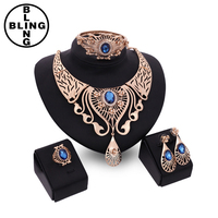 >>>Jewelry Sets For Women Wedding Dress Accessories African Beads Imitation Crystal Necklace Set Fine Earrings Gold Plated Penda