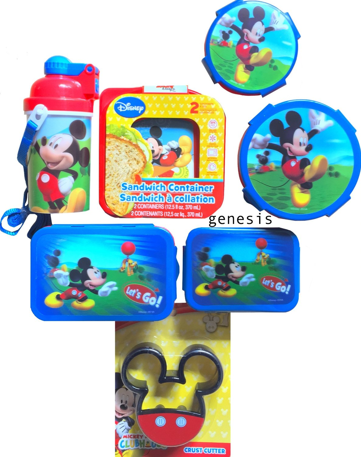 Mickey Mouse 7 Pc Children's Lunch Gift Set With Snack & Food Storages, Bottle, Crust Cutter & Utensils