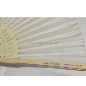 free shipping 8.25inch 21cm white Chinese Folding Bamboo Silk Hand Fans with printing bride and groom name