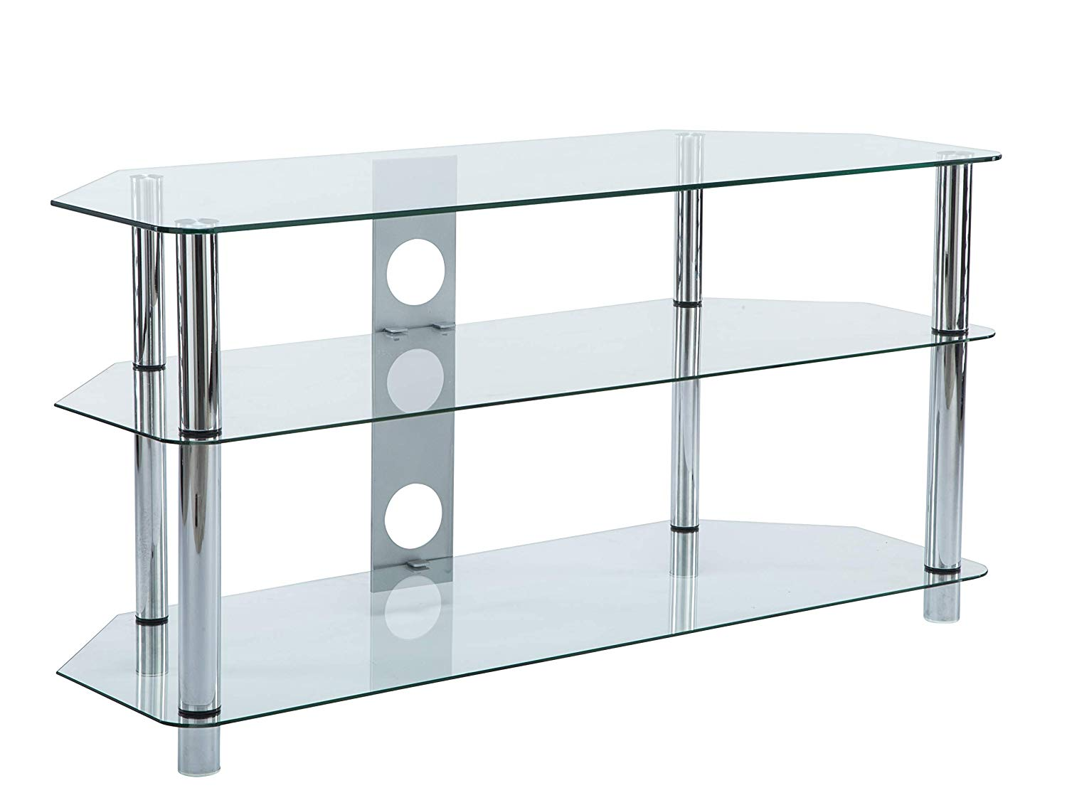e154761cc7d2 Get Quotations · MMT Furniture Designs Clear Glass Floor TV Stand Universal  48