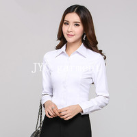 white women's cotton office slim fit dress bussiness shirts