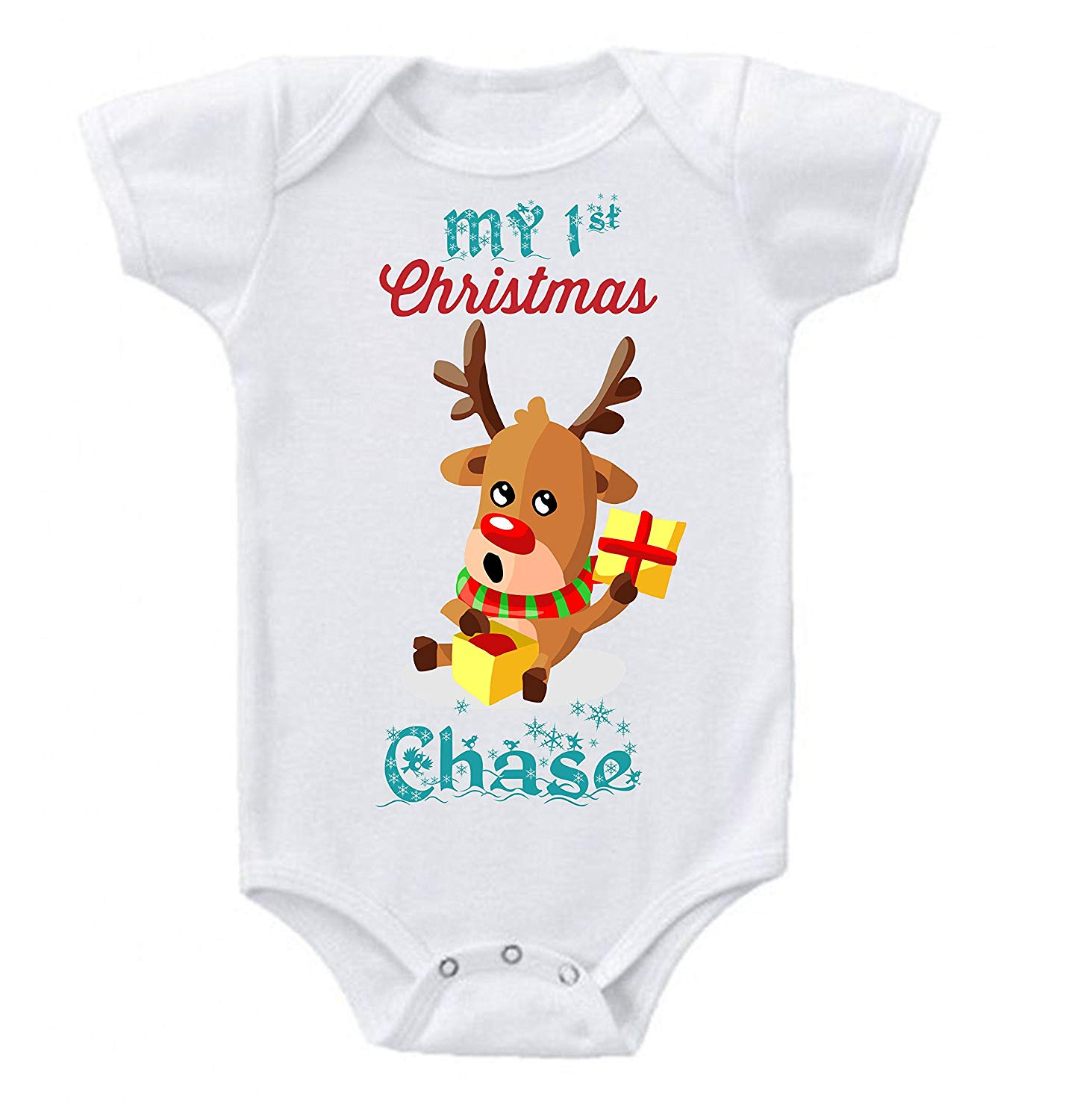 17c4b5f53a7d Get Quotations · Onesie Babys First Christmas Rudolph Red Nosed Reindeer  Personalized Custom Short Sleeve 0 to 3 mos