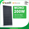 BlueSun high quality 200W pv panel solar mono silicon 200wp solar module for solar panel system