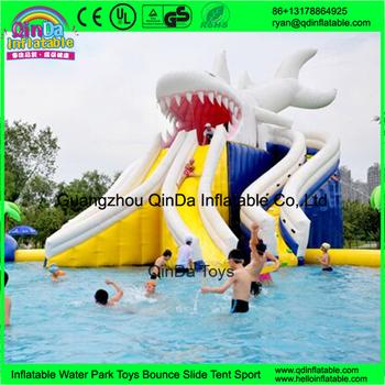 blanc gonflable g ant de requin toboggan vendre gonfler piscine utilis toboggans parc buy. Black Bedroom Furniture Sets. Home Design Ideas