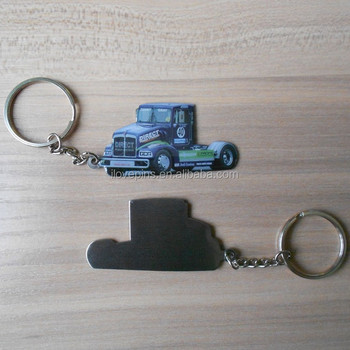 metal stainless iron printing truck key chains