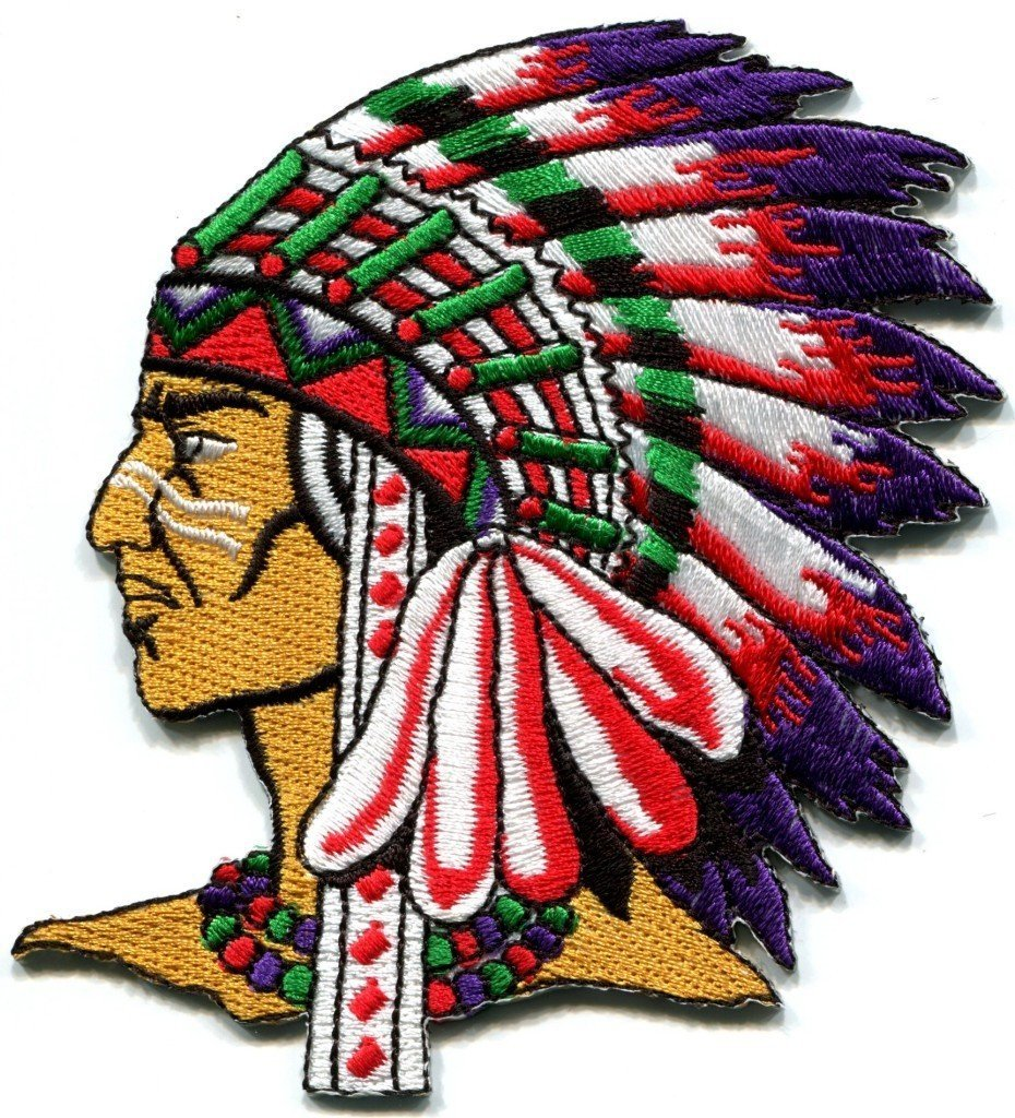 Native American Indian Chief Retro Applique BIG Xl Applique Iron-on Patch S-250 Handmade Design From Thailand