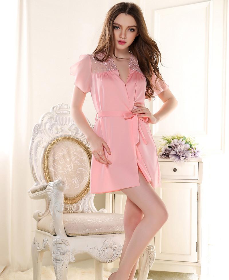 3af47293fe9 Buy New 2015 Nightwear Women Luxury lace sexy women robe hollow out elegant women  sleepwear summer ladies nightgown pajamas Bathrobe in Cheap Price on ...