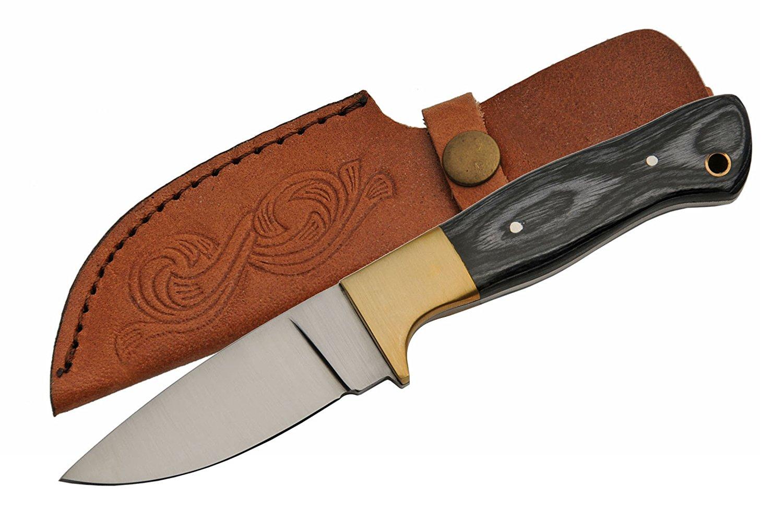 SZCO Supplies black Pakkawood Skinning Knife Hunting Knife