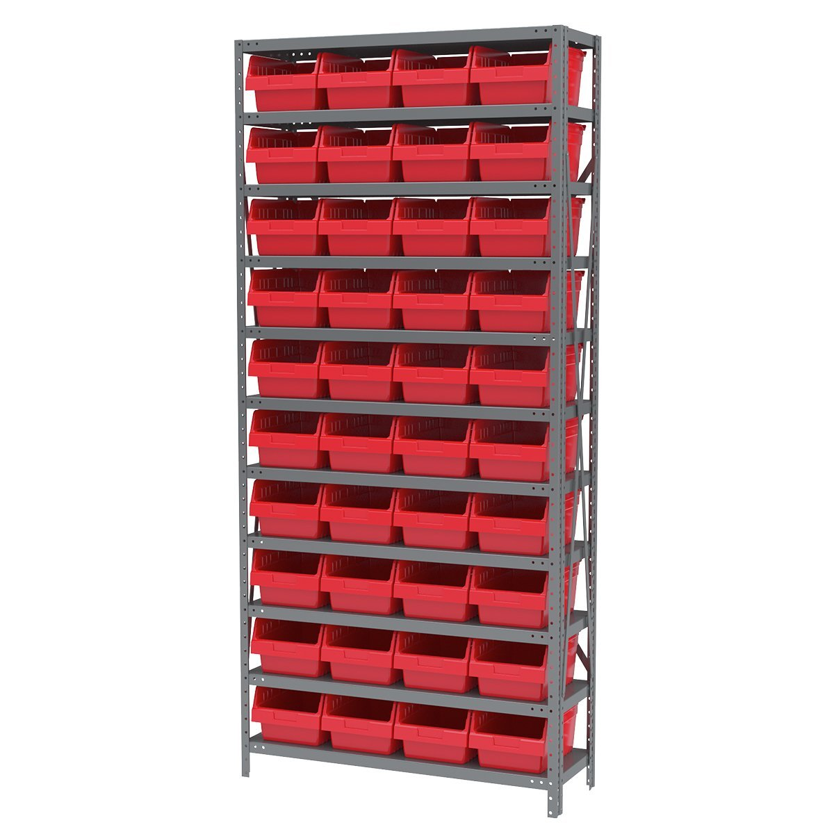 AKRO-MILS AS1279080 12-Inch D by 36-Inch W by 79-Inch H Powder Coated Steel Shelving Unit with 10 Shelves and 40 Red 30080 Shelf Bins, Grey