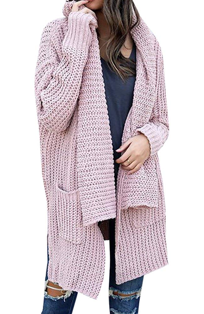 f1c29906ad Get Quotations · Cymbopogon Womens Cardigan Sweaters Open Front Knit Long  Sleeve Chunky Loose Warm Cardigans