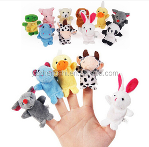 Free Sample hot sale cheap price for promotion plush animal finger puppet toy tell story for children