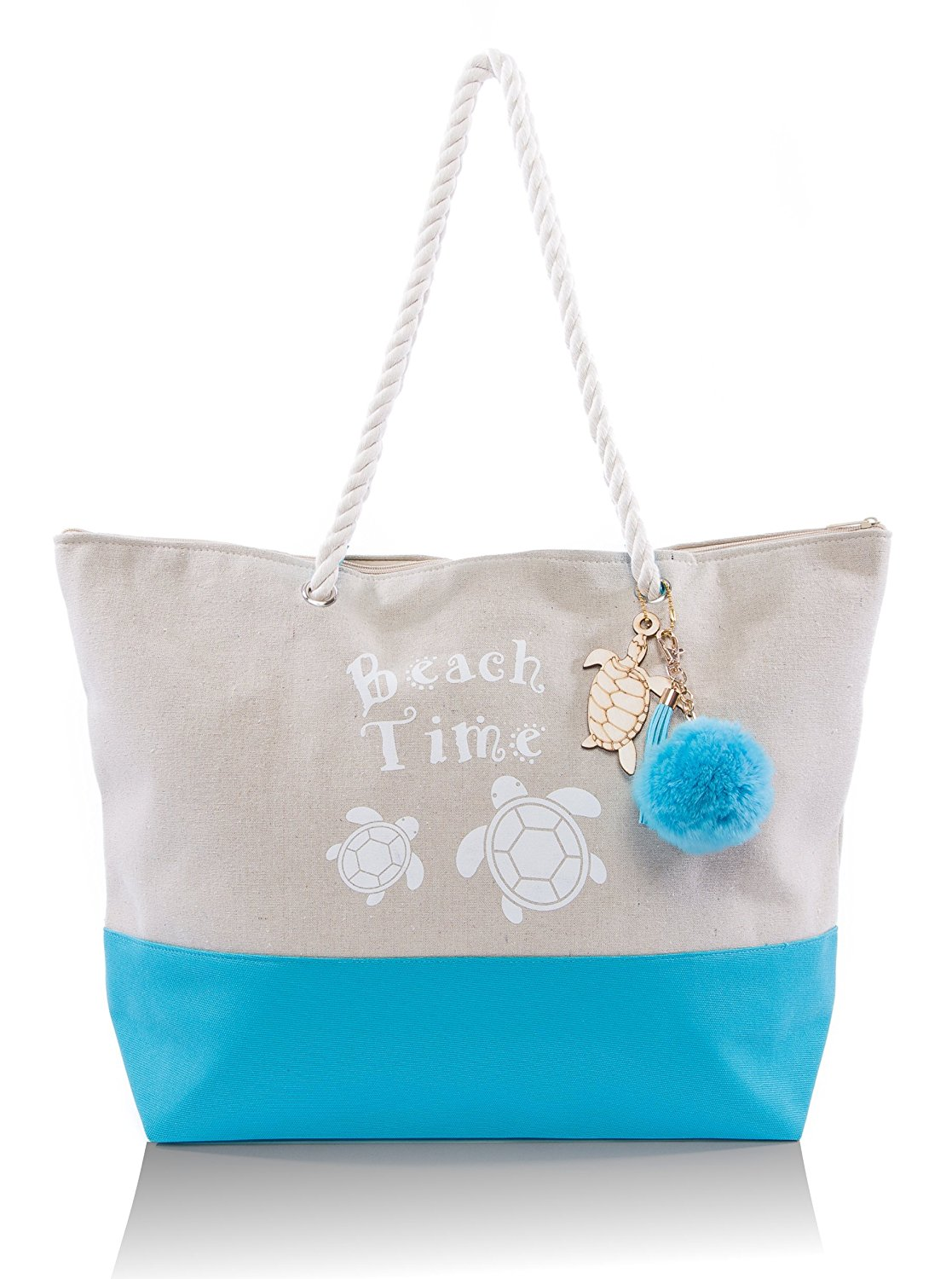Beach Bag By Pier 17 - Beach Bag for Women with Top Zipper Closure, Rope Handles, 2 Inner Pocket, Tassels and Pom Pom, Nautical Wooden Charm, Built-In Inner Backing for Extra Durability