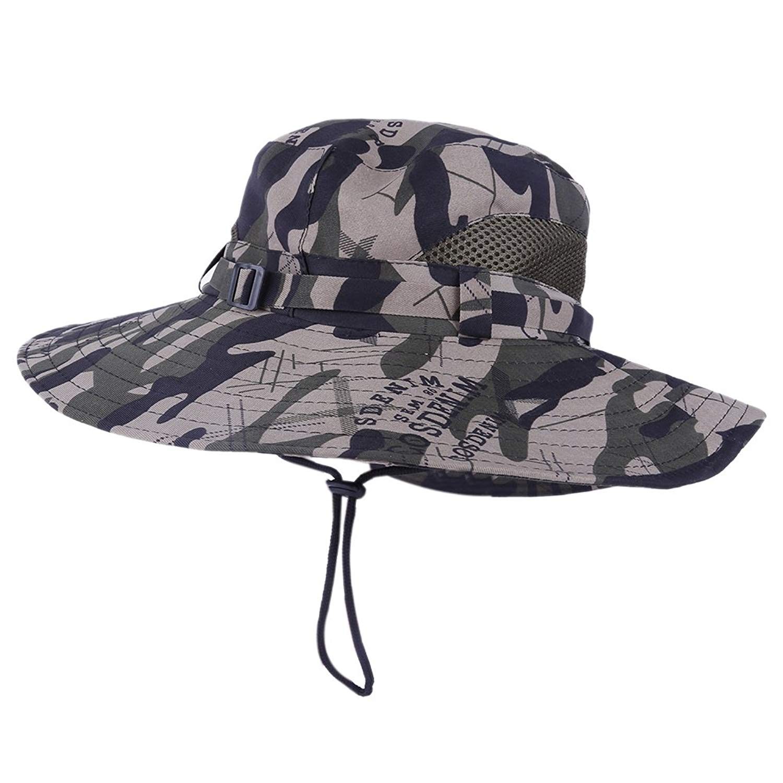 86ac5787e75 Get Quotations · Bornbayb Outdoor Sun Hat Camouflage Bucket Mesh Boonie Hat  Wide Brim Breathable Hunting Fishing Safari Sun