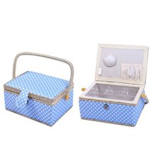 Handles Home Storage Box Mother's Day Gift ,31 Pcs Sewing Kit Accessories With Polka Dot Sewing Basket