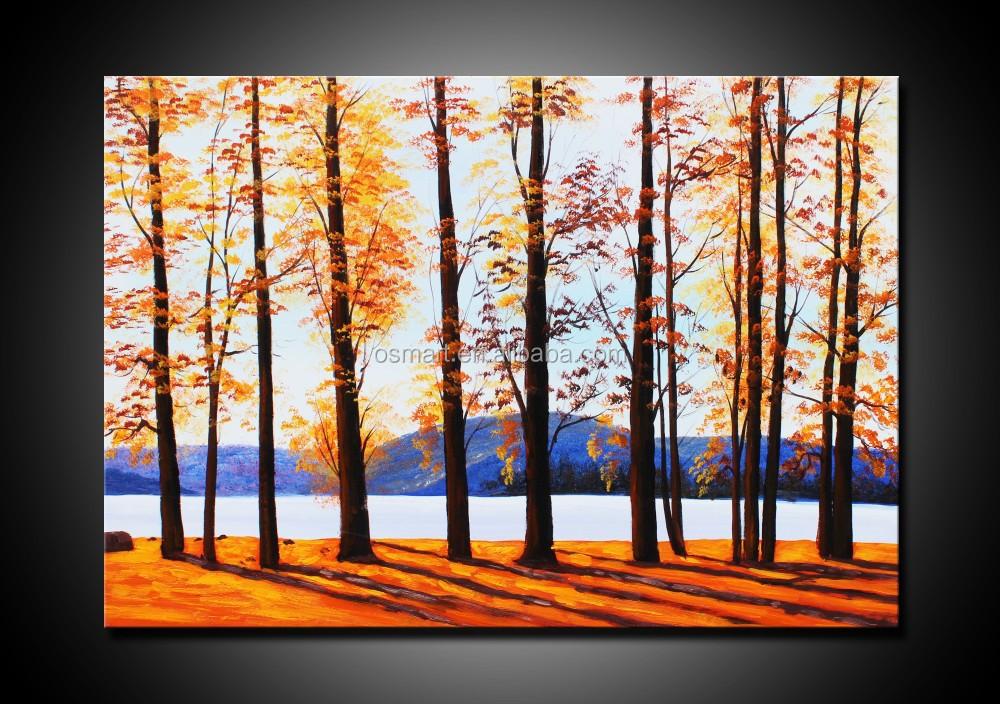 Arte autoadesivo della parete soggiorno quadri di alberi for Dipinti ad olio moderni
