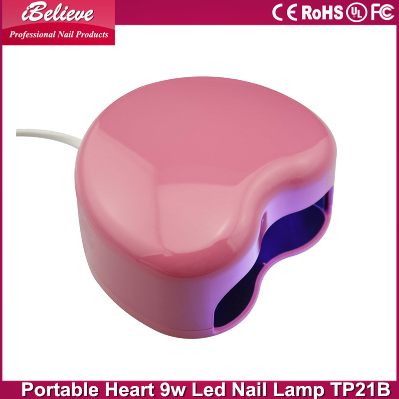 Portable heart shape manicure gel nail 9w curing gel uv led bulb