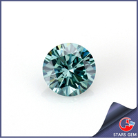 round machine cut VVS green moissanite stones 3 carat synthetic diamond cut