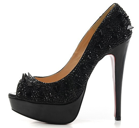 2015 fashion ladies high heel shoes 14cm black/gold/silver/blue/red crystals rivets studded pumps brides wedding shoes