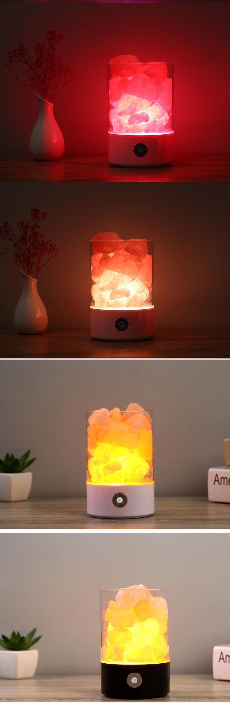 Exclusivo fantasia rosa usb cristal natural himalaia lâmpada de sal luz da noite