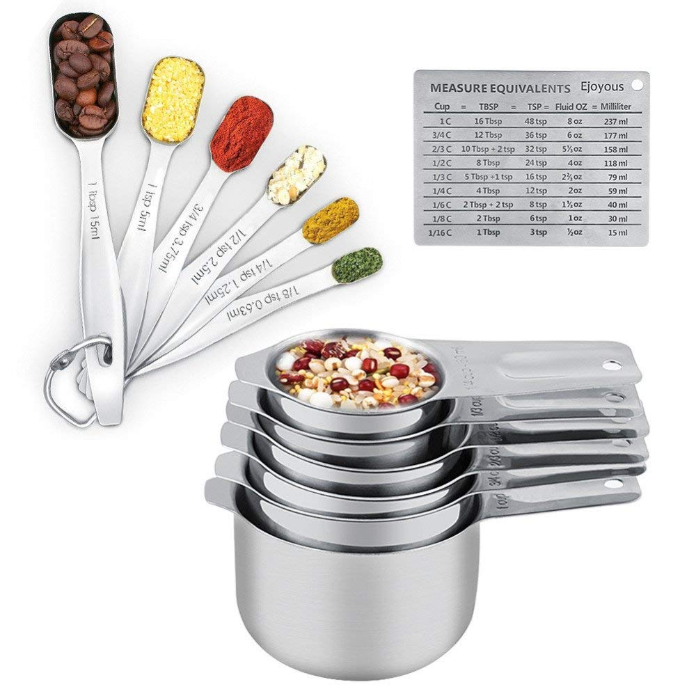 Measuring Cups and Measuring Spoons Set Ejoyous 304 Stainless Steel 13 Pieces Kitchen Measuring