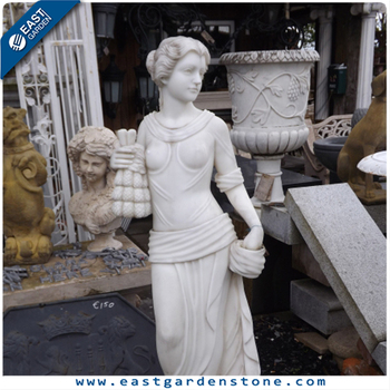 Woman carving lifelike female nude marble sculpture for sale