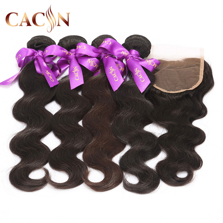 100% Human Hair 3 Way Part Lace Closure Bleached Knots Body Wave 5*5 Virgin Hair Bundles With Lace Closure