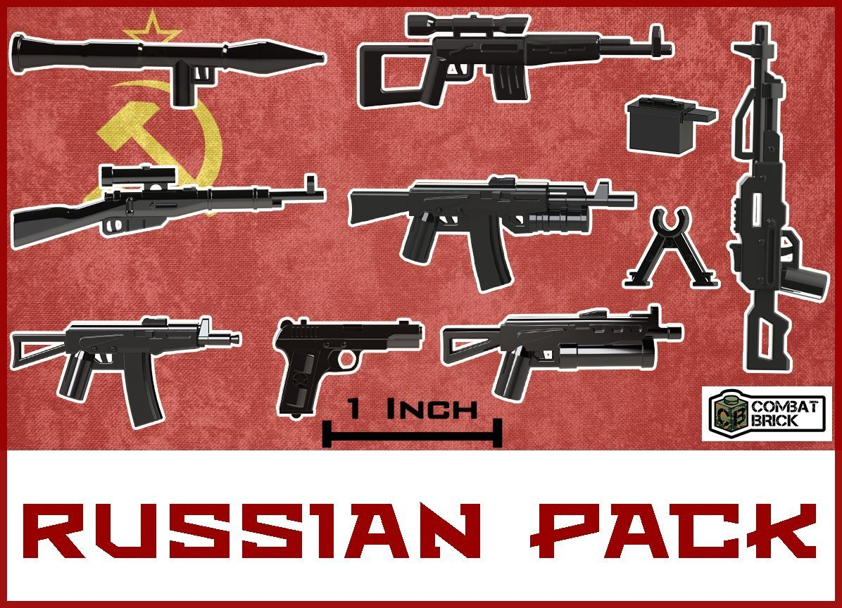 """Custom Army Builder Miniature Scale 2"""" Guns : Russian Weapons pack Made For LEGO® Minifigure"""