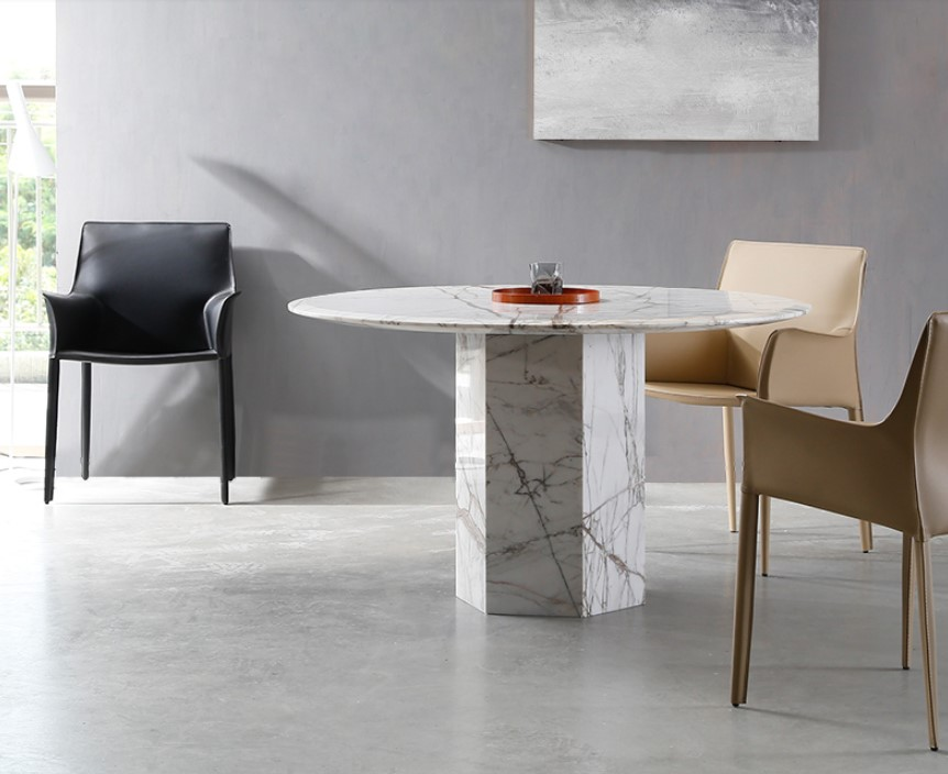 Import natural marble dining table round shape dining table set