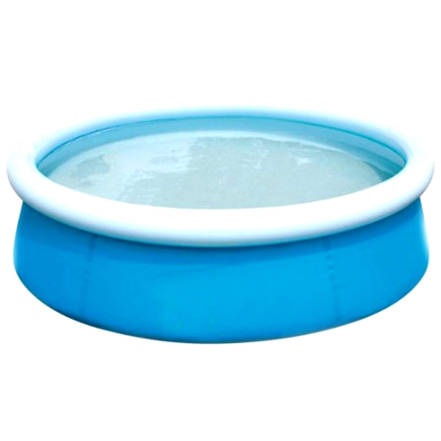 Kids Inflatable Pool This Kiddie Blow Up Above Ground Swimming Pool Is Great For Toddlers, Children To Have Outdoor Water Fun With Slide, Toys, Floats. First Fast Set Pool Center. (Blue)