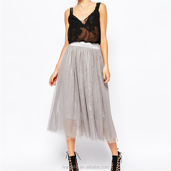 Fabric tulle wholesale 2015 new gray design tulle maxi skirt HSS3345