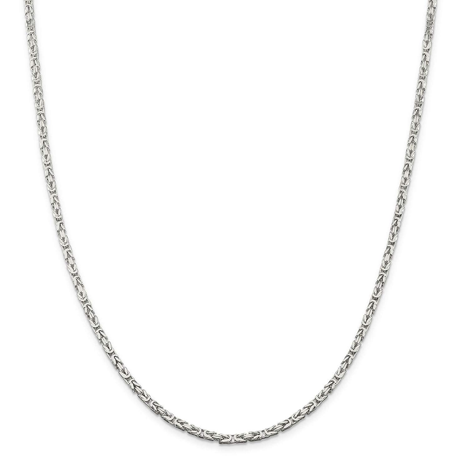 """925 Sterling Silver 2.5mm Polished Square Byzantine Chain Necklace 7"""" - 30"""""""