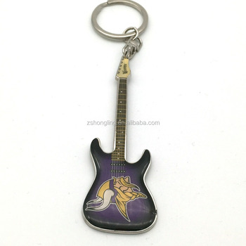 2018 guitar shaped epoxy logo key chain