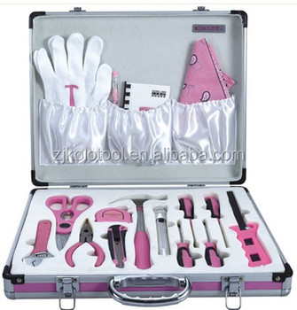 18pc Fashion Design Ladies Tool Kit With Aluminum Case Pink Hand