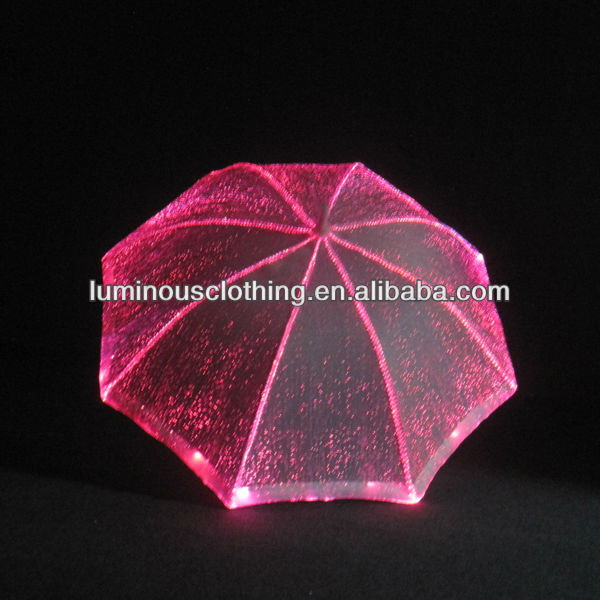 hot sale popular exotic gleamy RGB color glow in the dark umbrella led for performance for show