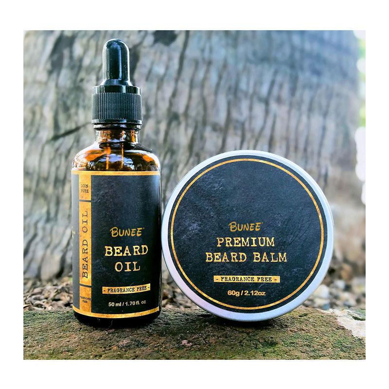 ฟรีตัวอย่างที่ดีที่สุดขายส่งกล่อง Beard Oil OEM Beard Balm และน้ำมัน Argan 100% Organic Beard Oil Gif ชุด